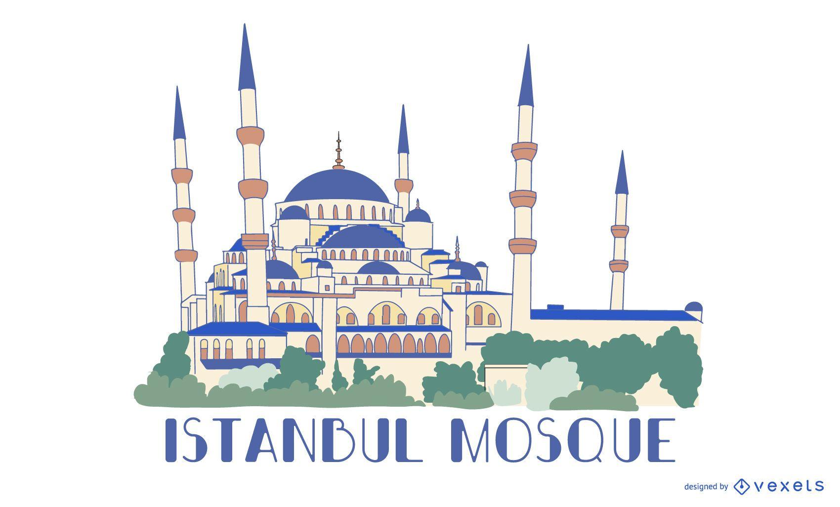 Istanbul Blue Mosque Illustration