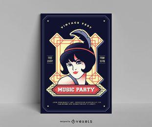Modelo de cartaz de música vintage