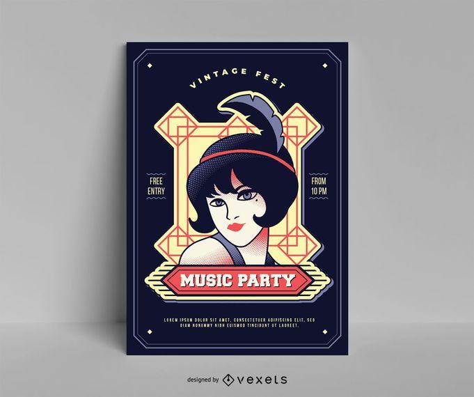Plantilla de cartel de música vintage