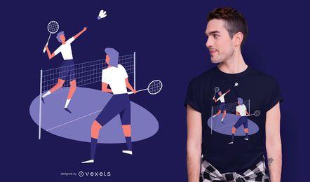 Design de t-shirt de jogadores de badminton