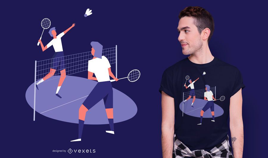 Badminton players t-shirt design