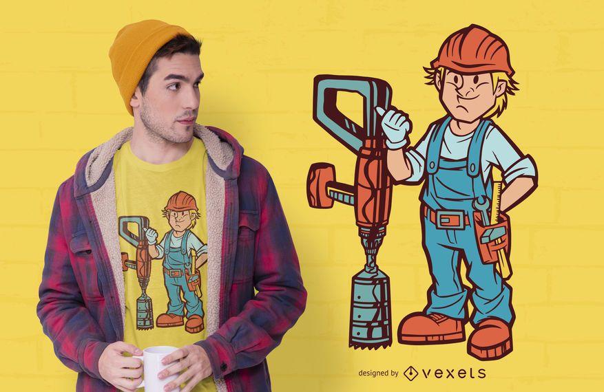 Construction man t-shirt design