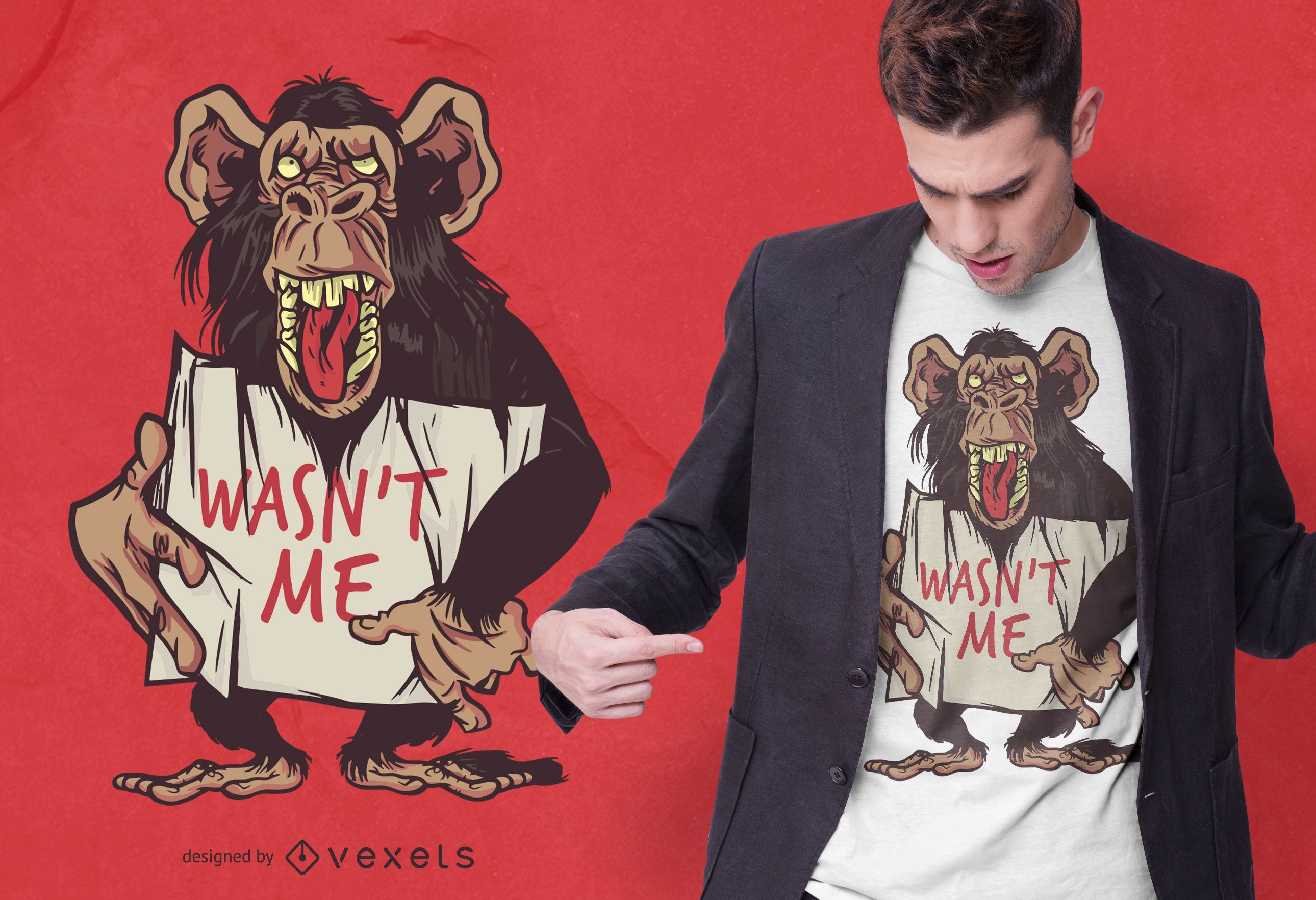 Monkey wasn't me t-shirt design