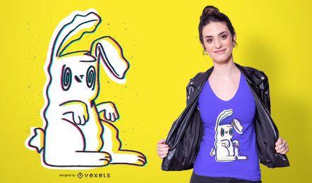 Diseño de camiseta de conejito trippy