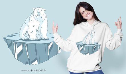 Design de camiseta de gelo de urso polar
