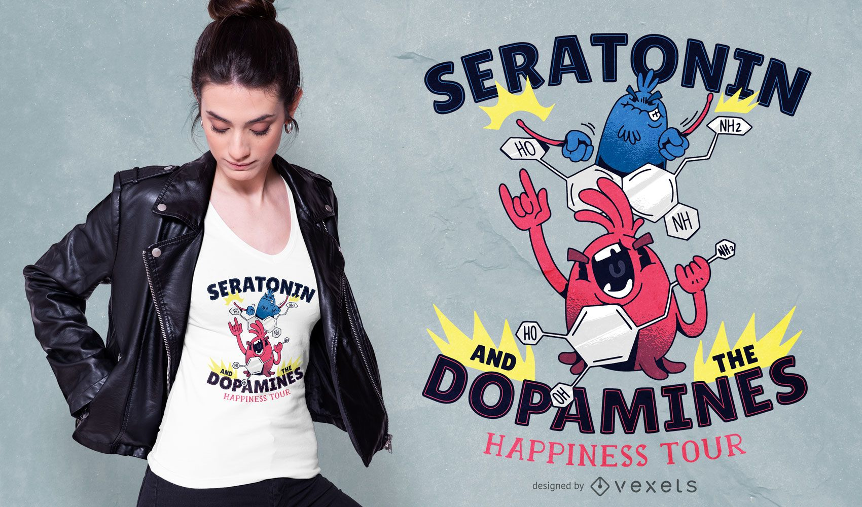 Molecules rock band t-shirt design