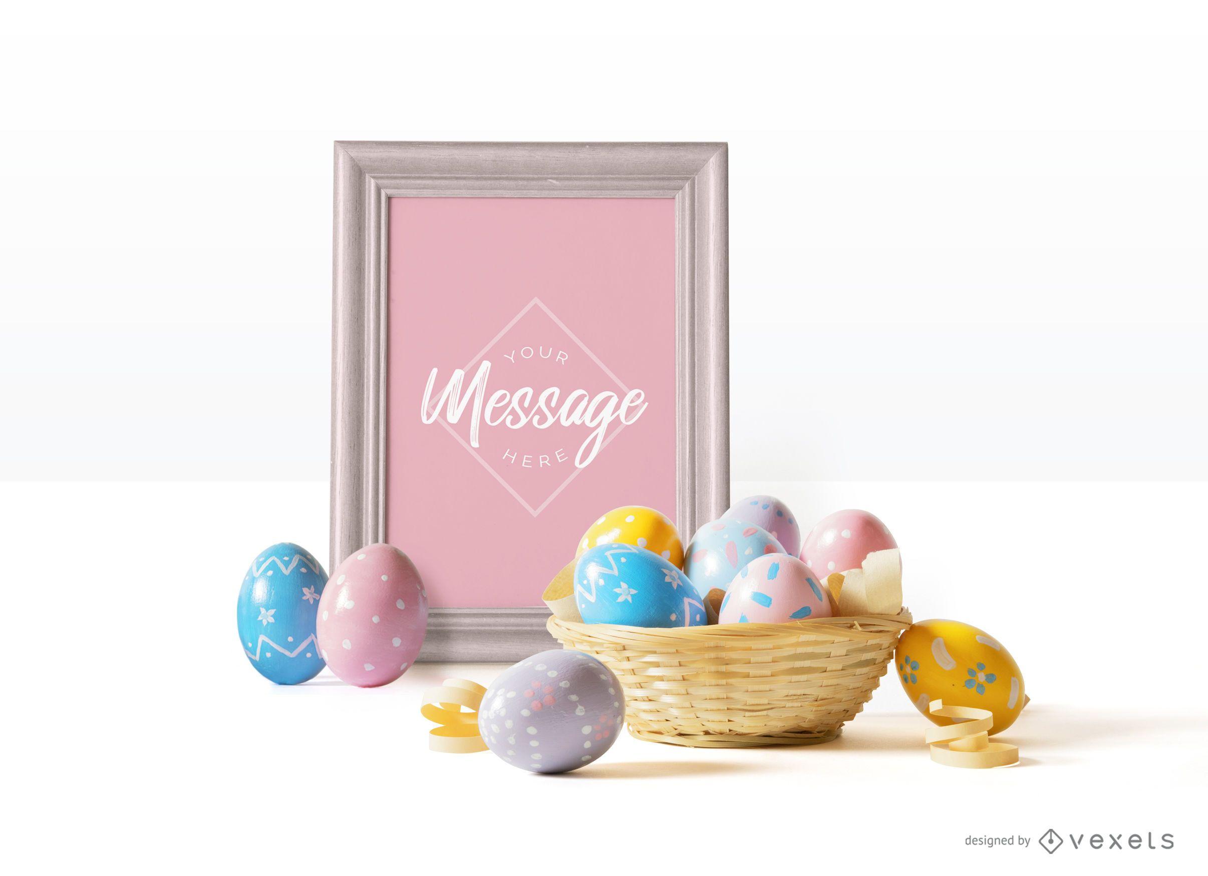 Easter eggs frame mockup