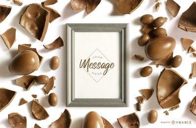 Maquete de moldura de chocolate de Páscoa