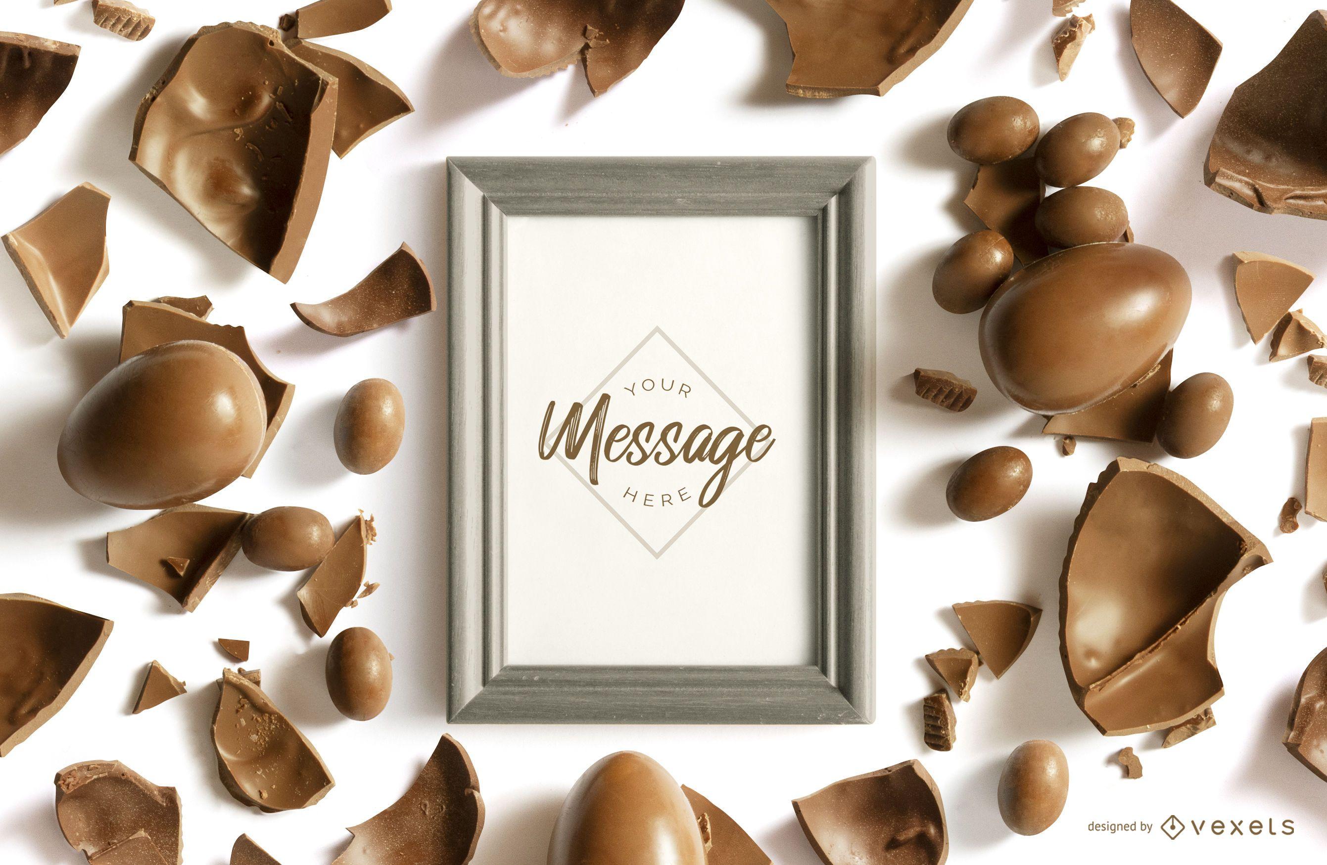 Maquete da moldura de chocolate da Páscoa