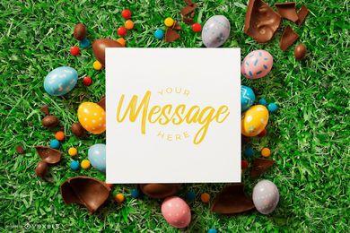 Design de maquete de cartão de ovos de Páscoa