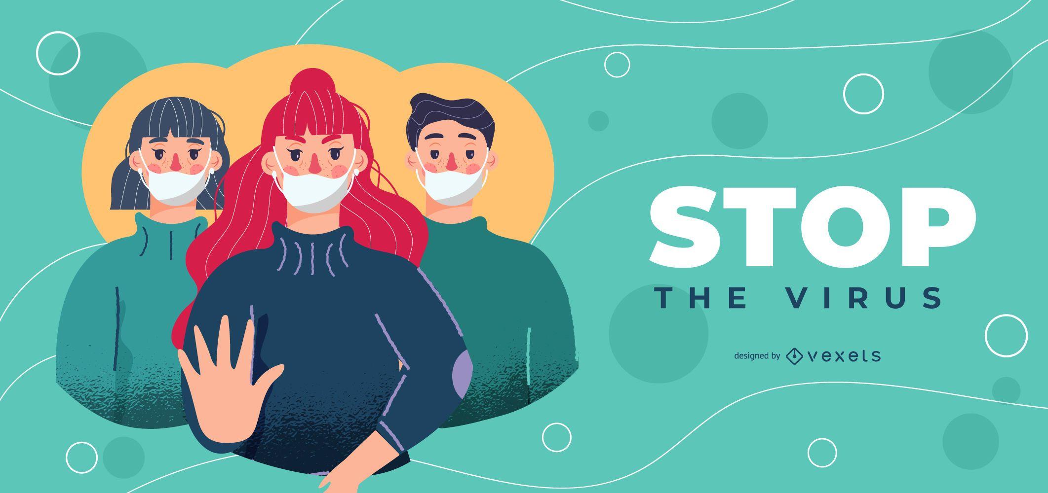 Stop virus banner template