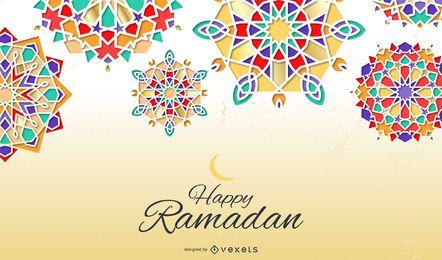 Diseño de fondo feliz Ramadán Mandala