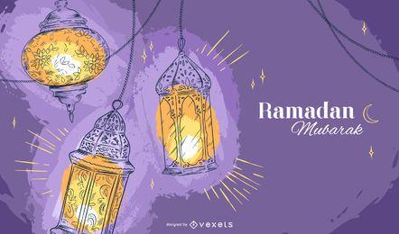 Diseño de fondo de lámparas de Ramadán