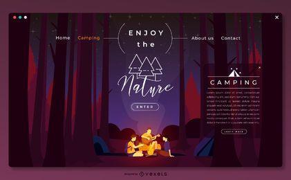 Plantilla de página de destino para acampar