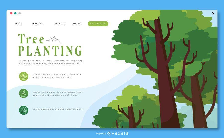 Plantilla de página de aterrizaje de plantación de árboles