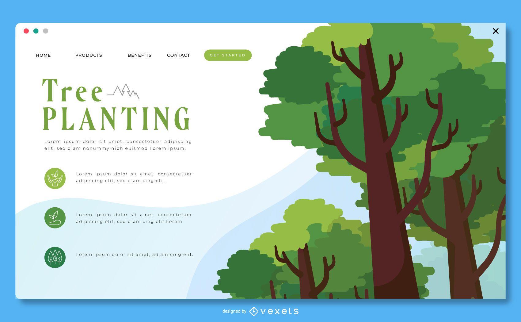 Modelo de página de destino para plantio de árvores