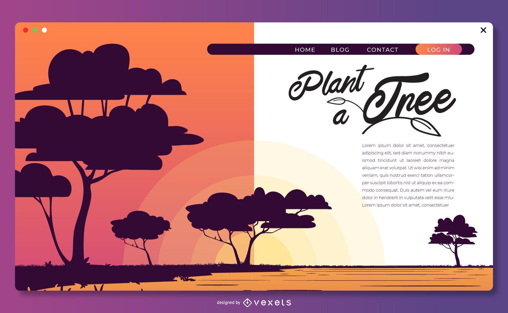 Planta una plantilla de página de destino de árbol
