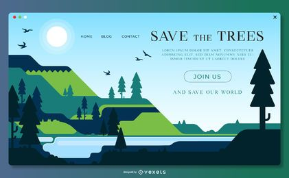 Guarde la plantilla de página de aterrizaje de árboles