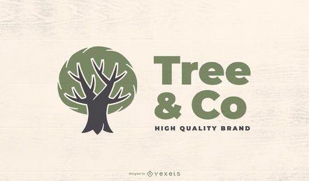 Modelo de logotipo de árvore verde eco