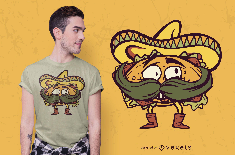 Diseño de camiseta de torta mexicana
