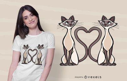Design de t-shirt de coração de gatos siameses