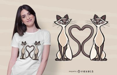 Diseño de camiseta de corazón de gatos siameses