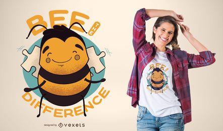Diseño lindo de la camiseta de la abeja la diferencia