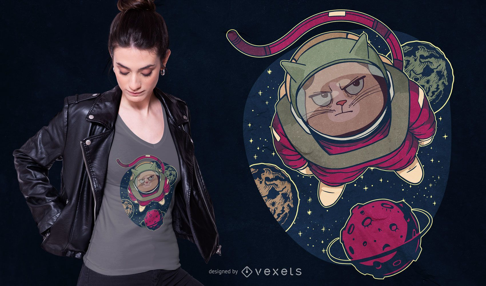 Astronaut cat t-shirt design