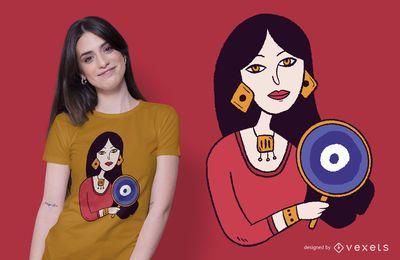 Diseño de camiseta mujer espejo.