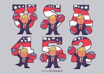 Conjunto de dibujos animados de la animadora Trump