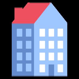 Edificio casa de cuatro pisos plana