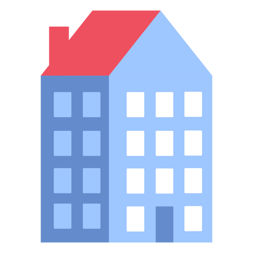 Edificio casa de cuatro pisos plana Transparent PNG
