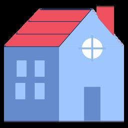Edifício casa telhado vermelho plana