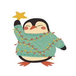 Christmas penguin flat