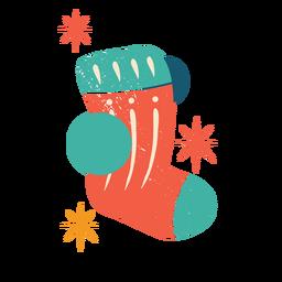 Calcetín de Navidad color plano