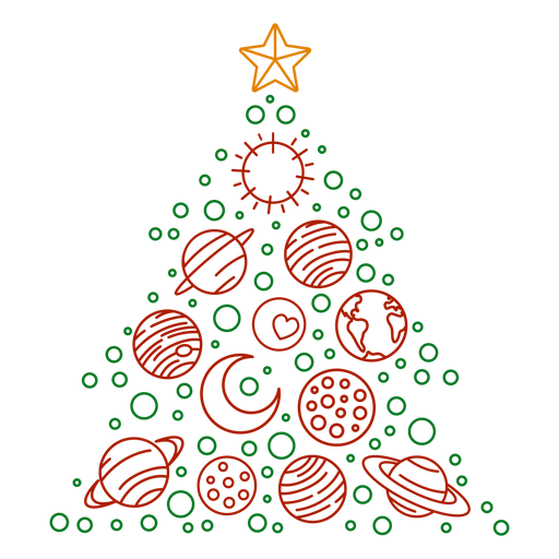 Planetas del árbol de navidad Transparent PNG