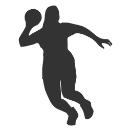 Female handball jumping silhouette