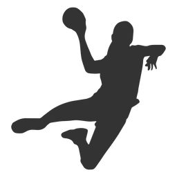 Female handball jumping with ball