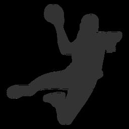 Weiblicher Handball, der mit Ball springt