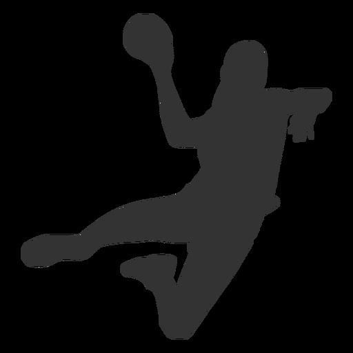 Balonmano femenino saltando con pelota