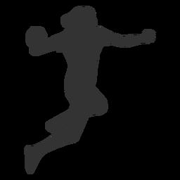 Handebol feminino pulando com silhueta de bola