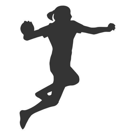 Female handball jumping with ball silhouette Transparent PNG