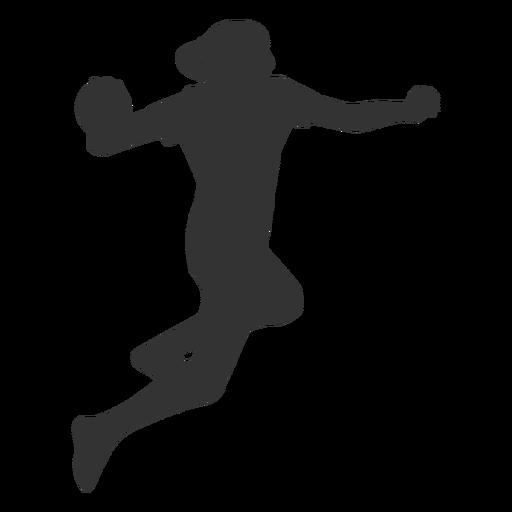 Female handball jumping with ball silhouette