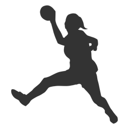 Handball jumping girl silhouette