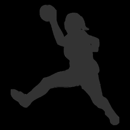 Silueta de niña saltando balonmano Transparent PNG