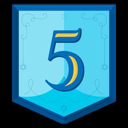 Guirnalda de Hanukkah números cinco