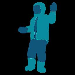 Garoto segurando o personagem de duas bolas de neve