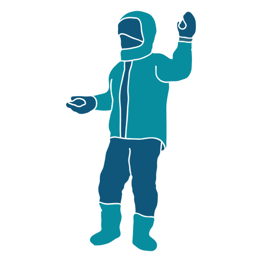 Kid holding two snowballs character Transparent PNG