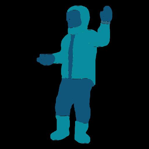 Niño con personaje de dos bolas de nieve Transparent PNG