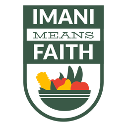 Kwanzaa badge imani means faith lettering